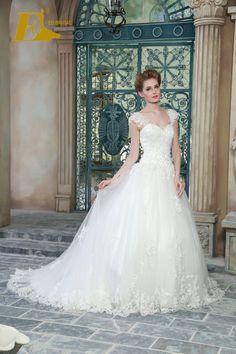 Ed Bridal Exquisite Cap Sleeve Lace Lqiues Beads Floor Length A Line Wedding Dresses