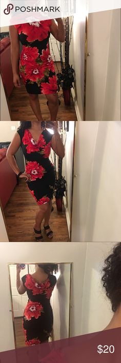 Floral Evening Dress Beautiful and elegant evening dress. Technically the drape goes over the breast but I find it stunning both ways!! Worn once for event. EUC, no stairs or tears. 😊 Ronni Nicole Dresses Midi