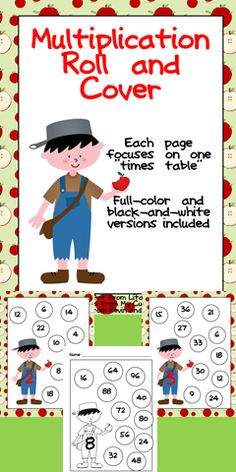 "Do your students need extra practice with multiplication facts? This packet might be able to help!!   This set has 22 ""roll and color"" multiplication pages... there is one page for each ""times table"" from 2 to 12. There are full-color and black-and-white versions included.  $"