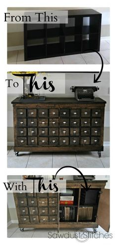 Ikea Cubbies Into A Rustic Apothecary - Sawdust 2 Stitches featured at Think and Make Thursday on Kenarry: Ideas for the Home