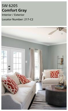 Joanna's favorite paint colors. Sherwin Williams Comfort Gray really isn't very gray at all in my opinion. It's another dusty blue green. And I'm in l… – Living room Bedroom Paint Colors, Paint Colors For Living Room, Paint Colors For Home, Paint Colours, House Color Schemes, House Colors, Living Room Interior, Living Room Decor, Living Rooms