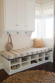 Great entry way bench...like all the shoe cubbies.  cabinets are too plain for an entryway, good for a laundry or mudroom.