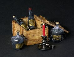 Scary Miniature Box of Wine Bottles for your Dollhouse Halloween Party by DinkyWorld at Etsy