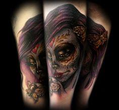 Tatuaje ispirado en El Dia de los Muertos