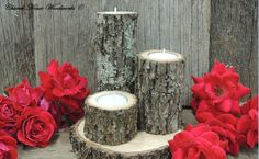 Tree Branch Candle Holders, Set of 3, Rustic wood candle holders, Wooden candle holders, tree bark candle holders by ChurchHouseWoodworks on Etsy https://www.etsy.com/listing/239372535/tree-branch-candle-holders-set-of-3