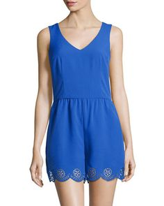 Laser-Cut Sleeveless Romper, Blue by muse at Neiman Marcus Last Call.