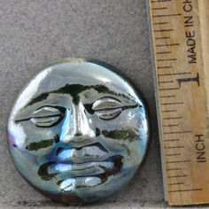 Handmade Folk Art Raku Moon Face Cabochon 43mm Hand Pressed in a handmade mold. by oscarcrow on Etsy