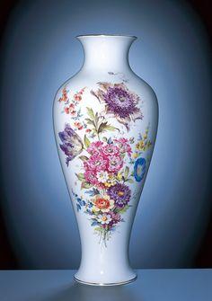 Vase, Bukett mitte, bunt, impressionistische Manier, reiche Ausführung, Gold, H 47,5 cm