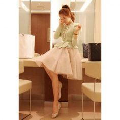 $13.43 Sweet Style Ruffled Multilayer High Waist Solid Color Mesh Bubble Tulle Skirt For Women