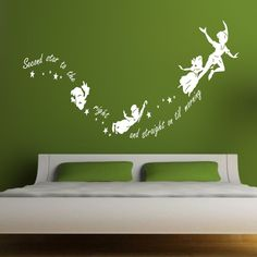 Tinkerbell second star to the right Peter pan wall decal sticker  kids art mural #Ebay