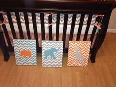 chevron is becoming increasingly more popular,with that i created this animal theme for a boy or girl.