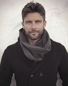 Black Cotton 'Pea Coat' Style Sweater, and Gray Infinity Scarf, Men's Fall Winter Fashion.