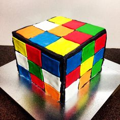 Rubix Cube birthday cake. Mostly vegan (without fondant) for an 80s inspired party.