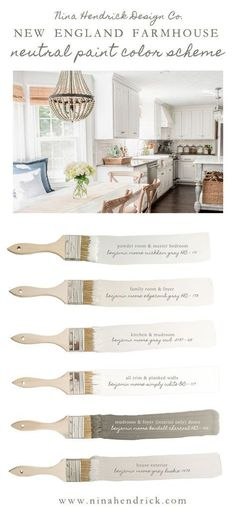 Nina Hendrick Design Cos New England Farmhouse Neutral Paint Color Scheme A neutral and soothing color scheme for your entire home using a combination of natural colors Paint Color Schemes, Neutral Color Scheme, Neutral Paint, Home Color Schemes, House Color Schemes Interior, Gray Paint, Neutral Wall Colors, Interior Paint Colors, Paint Colors For Home