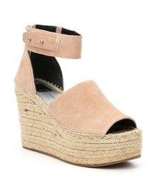 1fc4ebac844 Blush Dolce Vita Straw Suede Ankle Strap Peep-Toe Espadrille Wedge Sandals  Peep Toe