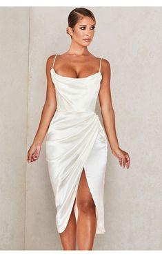 Clothing : Bodycon Dresses : 'Reva' Ivory Satin Balcony Corset Dress Beige Lace Dresses, White Satin Dress, Satin Dresses, Gowns, Dresses For Less, Dresses For Sale, Wedding Rehearsal Dress, Wedding Reception, Wedding Dress
