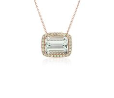 Green Quartz and Peridot Halo Pendant Necklace in 14k Rose Gold (9x12mm)