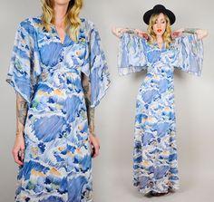 vtg 70's KIMONO SLEEVE sheer Flutter WATERCOLOR Maxi Dress Abstract art print XS