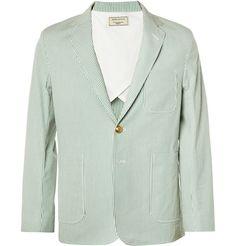 Maison KitsunéStriped Cotton-Seersucker Suit Jacket MR PORTER
