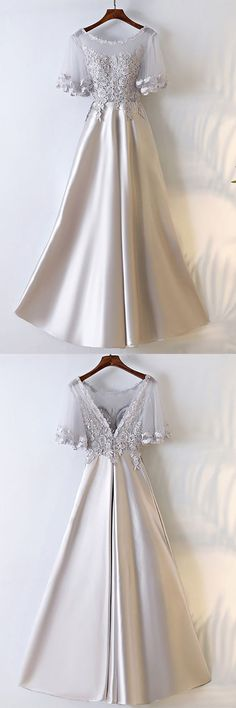 Elegant Long ,Sexy Short Sleeves,Silver Satin, Long Party Prom Dress With Illusion Neckline ,New Fashion