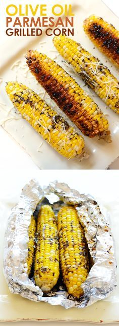 This grilled corn on the cob isn't your average summertime side. Spice up this recipe with olive oil and parmesan cheese for the most flavorful, EASY summertime corn on the cob that can be made right on your grill! Vegetable Dishes, Vegetable Recipes, Vegetarian Recipes, Cooking Recipes, Healthy Recipes, Easy Grill Recipes, Vegetarian Grilling, Barbecue Recipes, Veggie Food