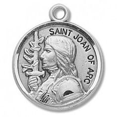 "Saint Joan of Arc 7/8"" Round Sterling Silver Medal"