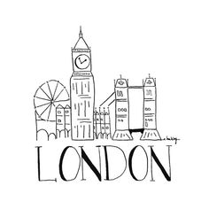 City Sketch LONDON. Wall art. Wall decor. Black and White. Illustration. Hand drawn illustration by INKUdesign on etsy.