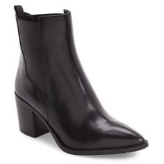Women's Kenneth Cole New York Quinley Water Resistant Chelsea Boot (€210) ❤ liked on Polyvore featuring shoes, boots, black leather, genuine leather boots, leather chelsea boots, pointy-toe boots, black boots and black shoes