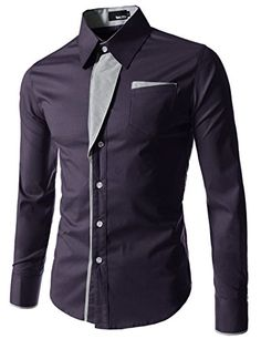 (N320) TheLees Mens Casual Long Sleeve Stripe Patched Fitted Dress Shirts PURPLE Medium(US X-Small) TheLees http://www.amazon.com/dp/B00I0IXBLE/ref=cm_sw_r_pi_dp_aPjfvb0CVSET3