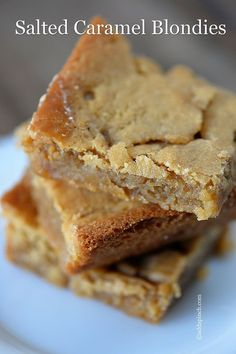 Salted Caramel Blondies - These treats are some you will want to make again and again! So moist and out of this world! addapinch.com