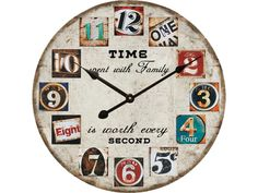 Earth de Fleur Homewares - Wall Clock - Time spent with Family is worth every second