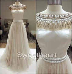 White A-line Tulle Long Prom Dress, Evening Dress,Formal Dress #prom #promdress #whiteprom #formaldress #dress