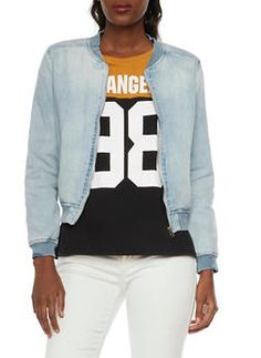 Denim Bomber Jacket - 1075071317856