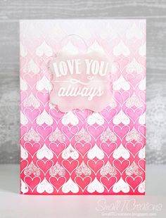 Feminine Love Card with Ombre Background | Small T Creations