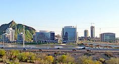 Tempe Skyline as seen from Papago Park. Photo by Nick (Wikipedia user Schwnj) Tempe Arizona, Home Warranty Reviews, Great Places, Places Ive Been, Seattle Skyline, New York Skyline, Best Places To Retire, Living In North Carolina, Arizona State University