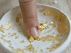 DIY Gold Leaf Clay Ring Bowl | http://hellonatural.co/diy-gold-leaf-clay-ring-bowl/