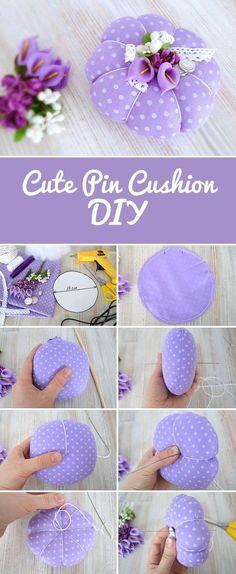 How to sew cute fabric pin cushion in 30 min   шьем симпатичную игольницу своими руками