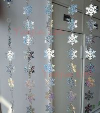 5 strands PVC sequins laser snowflake curtain Christmas party and home decor