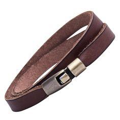 R&B Schmuck Herren Armband Leder - Lederarmband Vintage, Wickelarmband, Schlicht (Braun): 13,90€