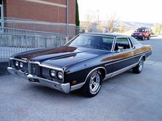 "After having a family member tell us that we needed to find a ""more mature"" automobile, we have an answer: a jet black 1972 Ford LTD! Classic Cars Usa, Ford Ltd, Ford Galaxie, Old Fords, Lincoln Continental, American Muscle Cars, Old Trucks, Motor Car, Cars And Motorcycles"