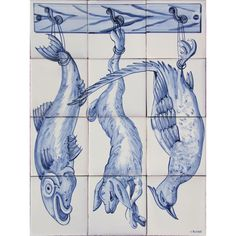 Portuguese Painted Clay Azulejos Tiles Mural Panel CORREIO MOR KITCHEN ANIMALS | eBay