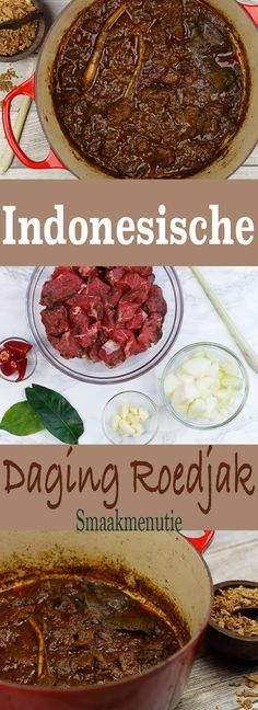 Roedjak Indonesische Daging RoedjakDaging Daging is Indonesian beef. It is used in various ways including shredded as a topping. Dutch Recipes, Meat Recipes, Slow Cooker Recipes, Asian Recipes, Healthy Recipes, Indonesian Cuisine, Indonesian Recipes, Good Food, Yummy Food