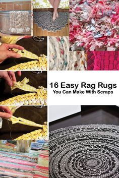 Have some extra supplies like rope, old t-shirts, or just fabric scraps? Use them to make one of these adorable and functional rag rugs. Diy And Crafts Sewing, Crafts To Sell, Sewing Projects, Sell Diy, Diy Projects, Diy Carpet, Rugs On Carpet, Carpet Ideas, Hall Carpet