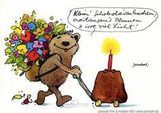 Klein, Schokoladenkuchen, zweitausend Blumen und irre viel Lichter - #Geburtstag, #Geschenk, #Schokoladenkuchen, #Postkarte, #Janosch