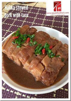 Hakka Yam Stewed Meat aka Lipu Taro Braised Meat (客家芋头扣肉, 荔浦扣肉) - Guai Shu Shu