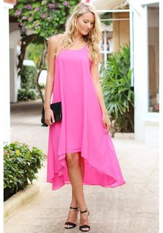 Neon pink high low midi dress with aztec straps