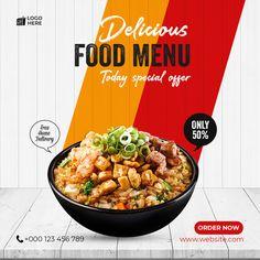 Food Graphic Design, Food Menu Design, Food Poster Design, Food Packaging Design, Social Media Poster, Social Media Design, Banner Design Inspiration, Business Cards Layout, Food Template