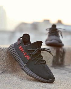 6d26b403e50aa Uk Size 9 4 10 Adidas Factory Materails Yeezy 350 Pirate Bred Black With  Red Letters Basf Size 10 Sneaker