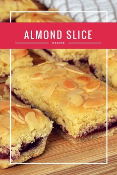 Almond Slice. Even better than the store bought Mr Kipling ones! Sweet pastry, topped with raspberry jam and a almond sponge.