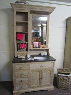 ll-bath-031w-landelijke cottage badkamerkast met spiegel en 2 manden